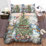 Christmas Party Around The Christmas Tree For Animals  Bed Sheets Spread Duvet Cover Bedding Sets