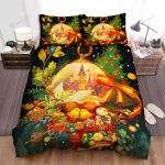 The Beautiful Castle And Christmas Tree Bed Sheets Spread Duvet Cover Bedding Sets