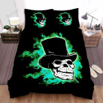 Halloween Skull In Green Flame Bed Sheets Spread Duvet Cover Bedding Sets