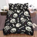 Halloween Skulls And Bones Pattern Bed Sheets Spread Duvet Cover Bedding Sets