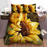 Sunflower Close-Up Art Painting Bed Sheets Spread Comforter Duvet Cover Bedding Sets