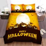Spider, Halloween, Moon And Orange Night Bed Sheets Spread Duvet Cover Bedding Sets