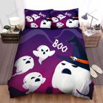 Halloween Funny Little Ghosts Boo The Big Ghost Bed Sheets Spread Duvet Cover Bedding Sets