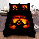 Halloween Ghost Silhouette In Orange Light Bed Sheets Spread Duvet Cover Bedding Sets
