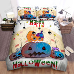 Halloween Cute Kitties Happy Halloween Bed Sheets Spread Duvet Cover Bedding Sets
