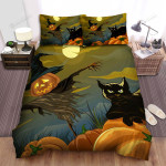 Scarecrow, Halloween, Cat And Sad Scarecrow Bed Sheets Spread Duvet Cover Bedding Sets