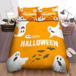 Halloween Ghost Happy Halloween In Orange Bed Sheets Spread Duvet Cover Bedding Sets