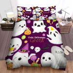 Cute Halloween Cartoon Ghosts Bed Sheets Spread Duvet Cover Bedding Sets