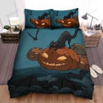 Halloween Black Cat With Bats And Jack O Lantern Drawing Bed Sheets Spread Duvet Cover Bedding Sets