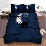 Halloween Cat Silhouette In The Night Bed Sheets Spread Duvet Cover Bedding Sets