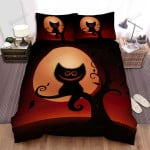 Halloween Smiling Cat Silhouette In The Moon Background Bed Sheets Spread Duvet Cover Bedding Sets