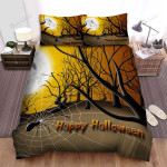 Spider, Halloween, Happy Halloween In The Forest Bed Sheets Spread Duvet Cover Bedding Sets