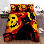 Halloween Smiling Cat Silhouette Bed Sheets Spread Duvet Cover Bedding Sets