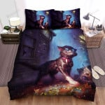 Halloween Cat Under The Rain Artwork Bed Sheets Spread Duvet Cover Bedding Sets