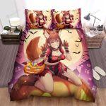 Halloween Anime Cat Girl On Jack O Lantern Bed Sheets Spread Duvet Cover Bedding Sets