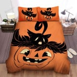 Halloween Black Cat Head On Jack O Lantern Bed Sheets Spread Duvet Cover Bedding Sets
