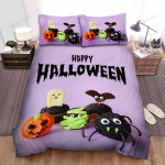 Spider, Halloween, Cute Monsters Bed Sheets Spread Duvet Cover Bedding Sets