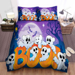 Halloween Spooky Ghosts Having Good Time Bed Sheets Spread Duvet Cover Bedding Sets