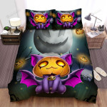 Halloween Cat With Jack O Lantern Mask And Bat Wings Bed Sheets Spread Duvet Cover Bedding Sets