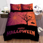 Spider, Halloween, Spider Web On The Tree Bed Sheets Spread Duvet Cover Bedding Sets
