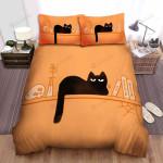 Halloween Black Cat In Orange Bed Sheets Spread Duvet Cover Bedding Sets