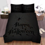 Spider, Halloween,  Happy Halloween From Black Spider Bed Sheets Spread Duvet Cover Bedding Sets
