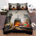 Halloween, Owl, Photoshoot Owl And Cat Art Bed Sheets Spread Duvet Cover Bedding Sets