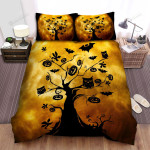 Halloween, Owl, 3 Owls On The Tree Bed Sheets Spread Duvet Cover Bedding Sets