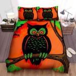 Halloween, Owl, Orange Eyes Owl Art Bed Sheets Spread Duvet Cover Bedding Sets