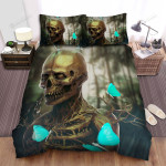 Halloween Skull With Blue Butterflies Bed Sheets Spread Duvet Cover Bedding Sets
