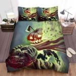 Halloween Skull Coming Out From Jack-O-Lantern Bed Sheets Spread Duvet Cover Bedding Sets