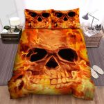 Halloween Flaming Skull Bed Sheets Spread Duvet Cover Bedding Sets