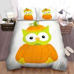 Halloween, Owl,  Dots Pumpkin Owl Bed Sheets Spread Duvet Cover Bedding Sets