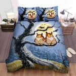 Halloween, Owl, Pair Of Owls Halloween Night Bed Sheets Spread Duvet Cover Bedding Sets