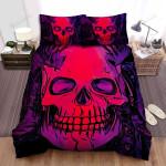 Halloween Red Skull With Horns Illustration Bed Sheets Spread Duvet Cover Bedding Sets