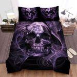 Halloween Purple Smoke Skull Digital Illustration Bed Sheets Spread Duvet Cover Bedding Sets
