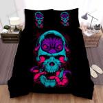 Halloween Purple Alien Inside Skull Bed Sheets Spread Duvet Cover Bedding Sets