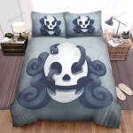 Halloween Skull With Black Snake Inside Bed Sheets Spread Duvet Cover Bedding Sets