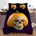 Halloween Skull With Pumpkin Hat Bed Sheets Spread Duvet Cover Bedding Sets