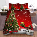 Red Sky Of  The Christmas Tree Bed Sheets Spread Duvet Cover Bedding Sets