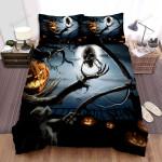Halloween Jack-O-Lantern With A Skull Artwork Bed Sheets Spread Duvet Cover Bedding Sets