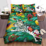 A Cat Climbing On The Christmas Tree Bed Sheets Spread Duvet Cover Bedding Sets