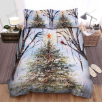 Christmas Tree With Orange Star On Top Bed Sheets Spread Duvet Cover Bedding Sets