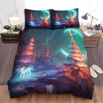 God Goat Passing The Christmas Tree Bed Sheets Spread Duvet Cover Bedding Sets