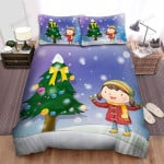 A Girl And Her Dog Near The Christmas Tree Bed Sheets Spread Duvet Cover Bedding Sets