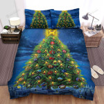 Crown On Giant Christmas Tree Bed Sheets Spread Duvet Cover Bedding Sets