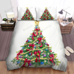 Red Ribbons Around The Christmas Tree Bed Sheets Spread Duvet Cover Bedding Sets