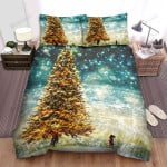 She Looking At Giant Christmas Tree Bed Sheets Spread Duvet Cover Bedding Sets