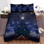 Sitting On Red Couch In Front Of Christmas Tree Bed Sheets Spread Duvet Cover Bedding Sets