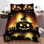 Halloween Black Jack-O-Lantern With Witch Hat Bed Sheets Spread Duvet Cover Bedding Sets